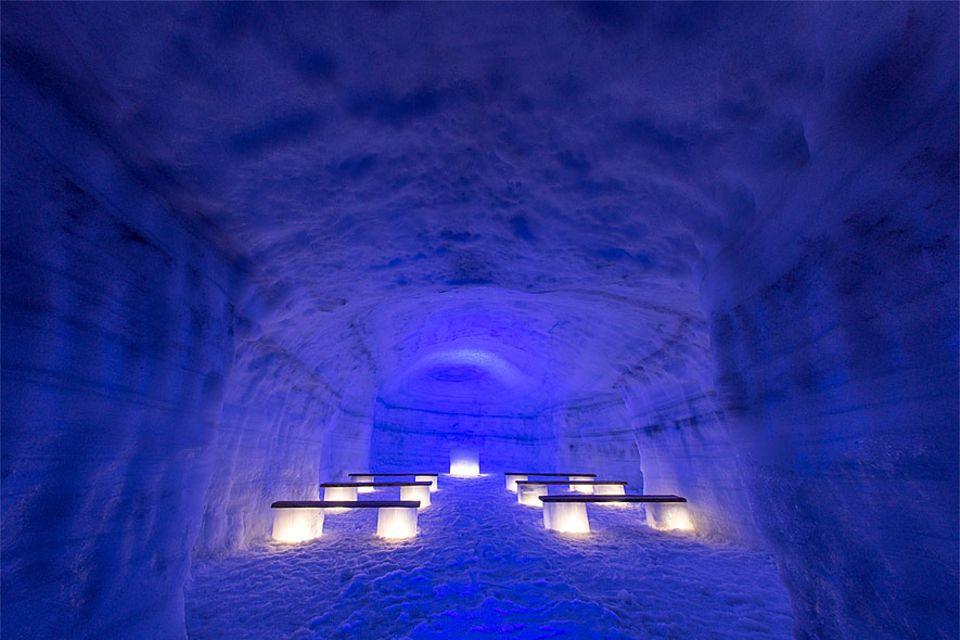 Island: Mehrere kleine Räume, wie diese Kapelle, sind in dem Tunnelgeflecht von 550 Metern zu finden. Die erste Hochzeit im Eis findet in wenigen Monaten statt