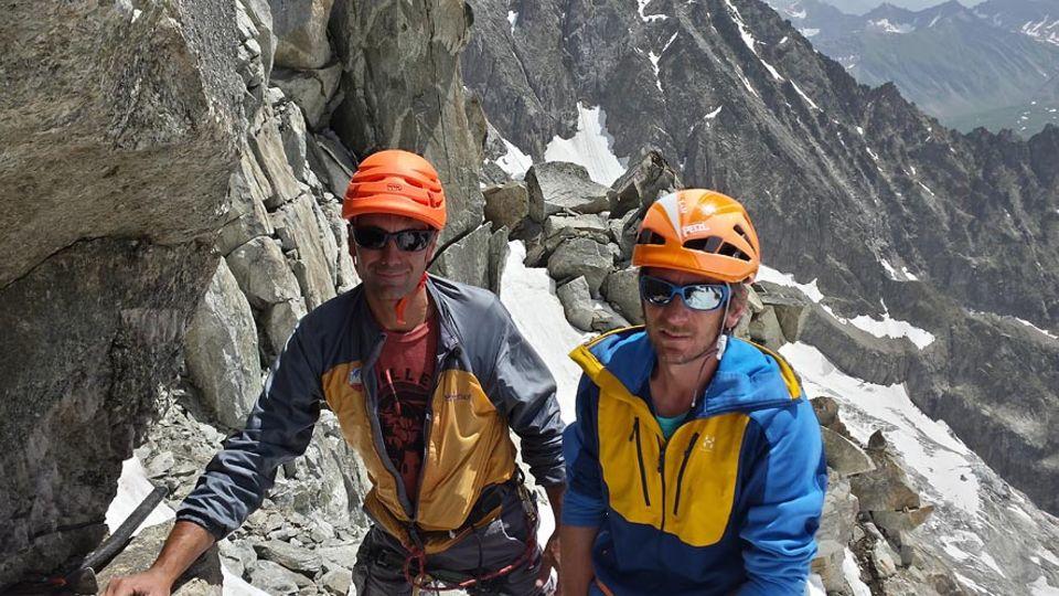 François Pallandre und Martial Dumas bei der Kristallsuche am Mont Blanc Massiv