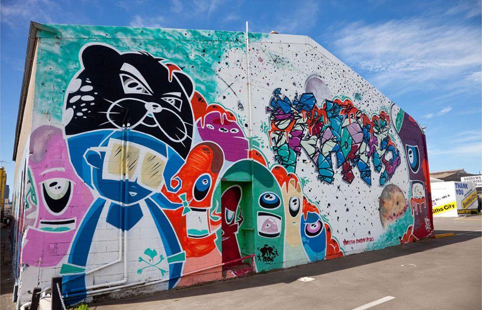 Neuseeland: Nach dem Erdbeben von 2011 entstanden in Christchurch dutzende Wandmalereien von lokalen aber auch weltweit bekannten Künstlern