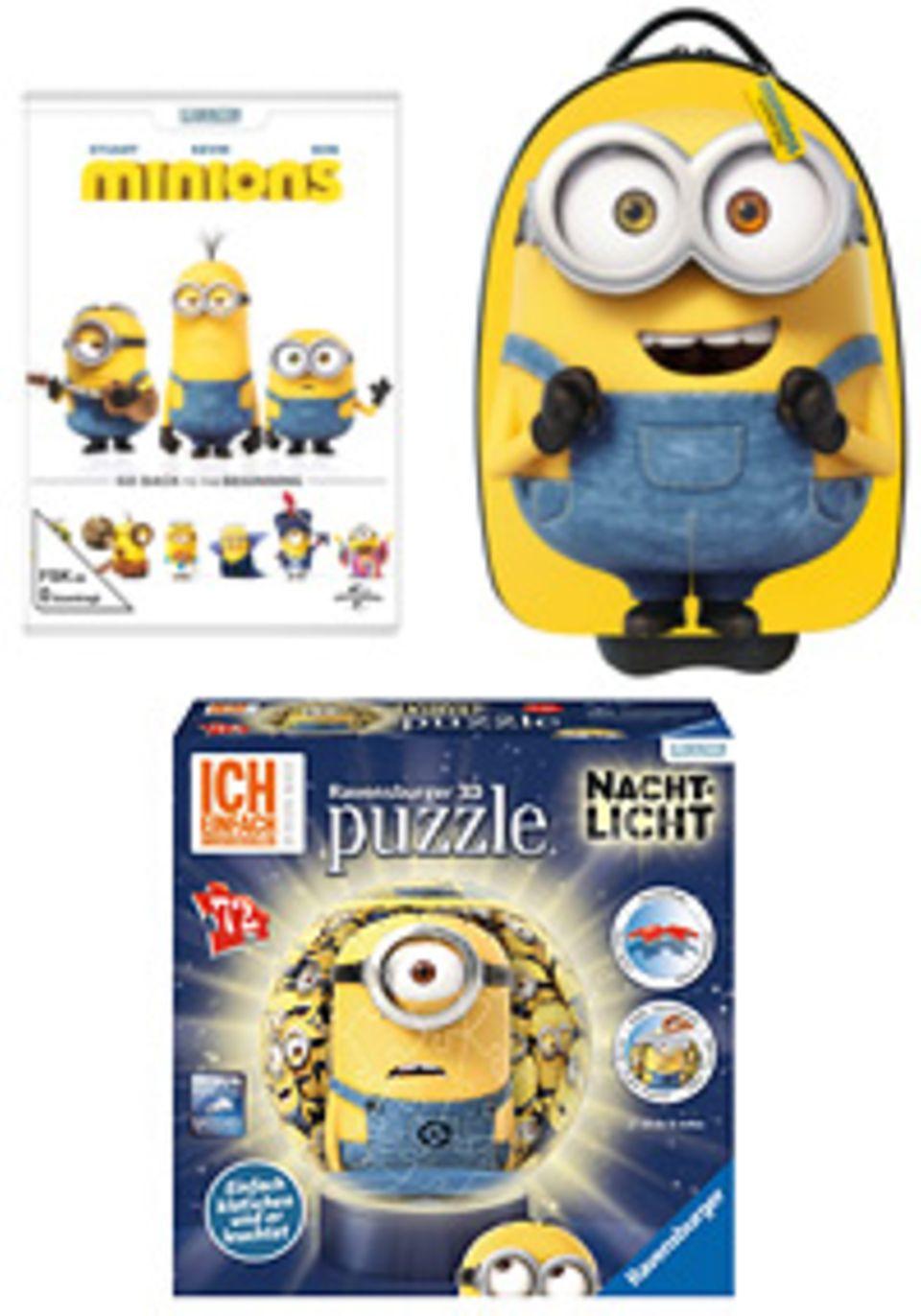 Filmtipp: Das konntet ihr gewinnen: Die DVD zum Film, ein Ravensburger Minions-Nachtlicht als 3D-Puzzle und als Hauptpreis einen Minions-Trolley