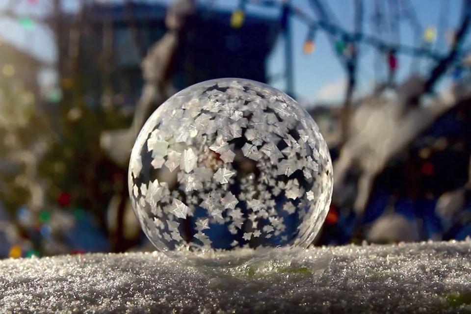 Frostiges Experiment: Wenn Seifenblasen gefrieren