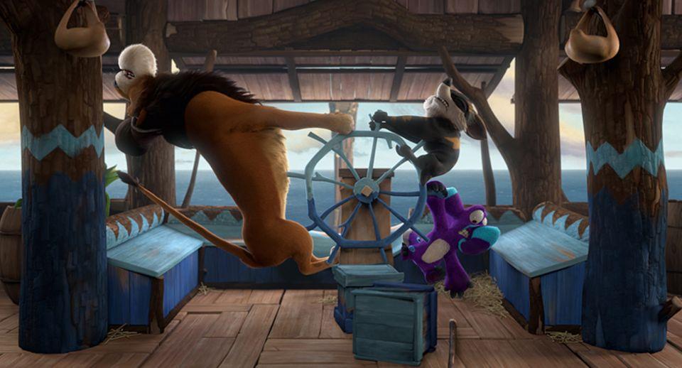 Filmtipp: Die Eltern Kate (m.) und Dave (r.) versuchen auf der Arche nach Kräften, das Schiff zu wenden und ihre Kinder an Bord zu holen