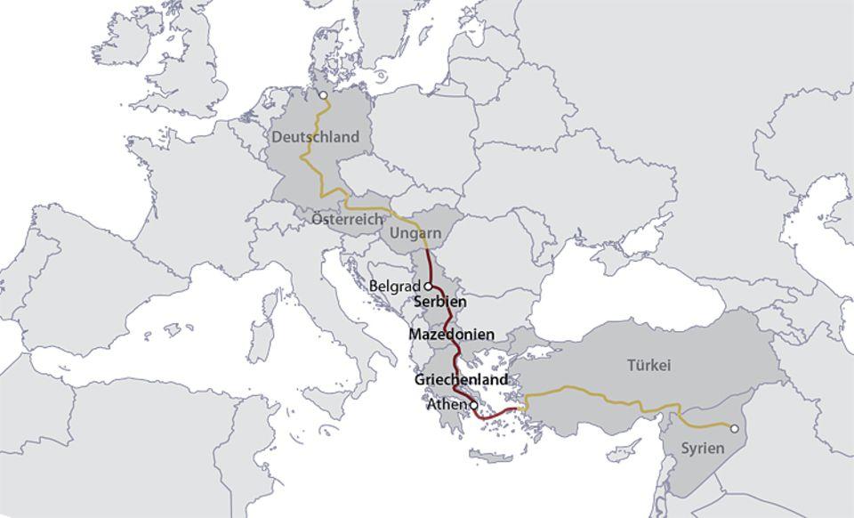 Flüchtlinge: Zweite Etappe: Die Alhays wagen sich über das Mittelmeer auf die Insel Kos. Eine Fähre bringt sie nach Athen. Zu Fuß, mit Bussen und Zügen erreichen sie schließlich die Grenze zu Ungarn