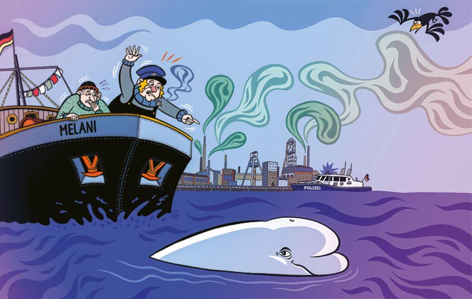 Schaltjahr: Die beiden Schiffer trauen ihren Augen nicht: Mitten im Rhein schwimmt ein Beluga