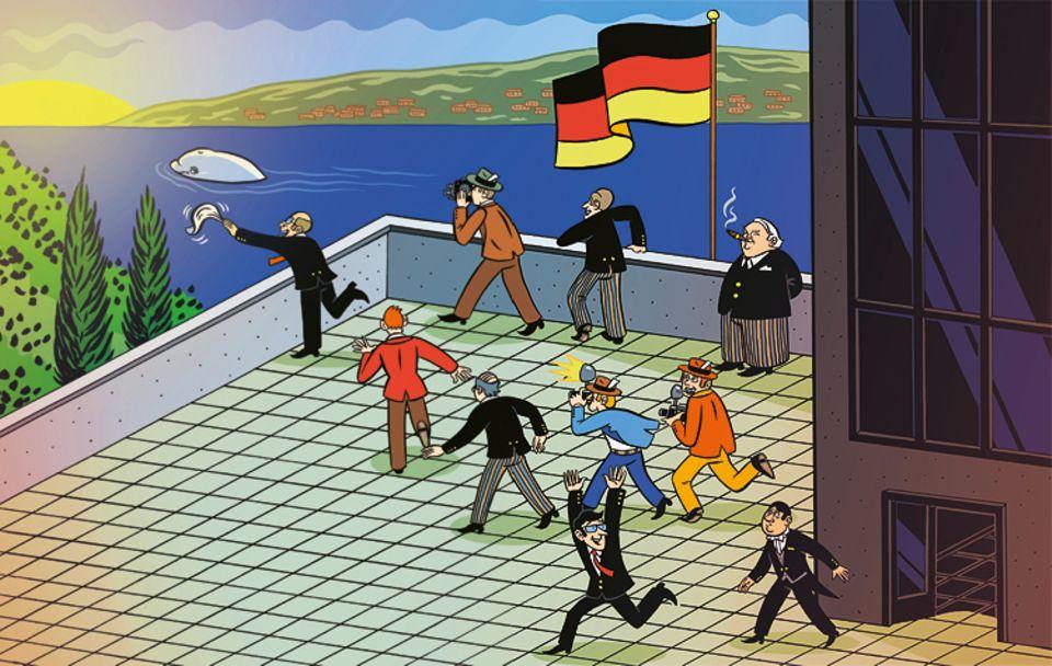 Schaltjahr: Als der Wal am Bundeshaus der damaligen westdeutschen Hauptstadt Bonn vorbeischwimmt, stürmen alle zum Fluss