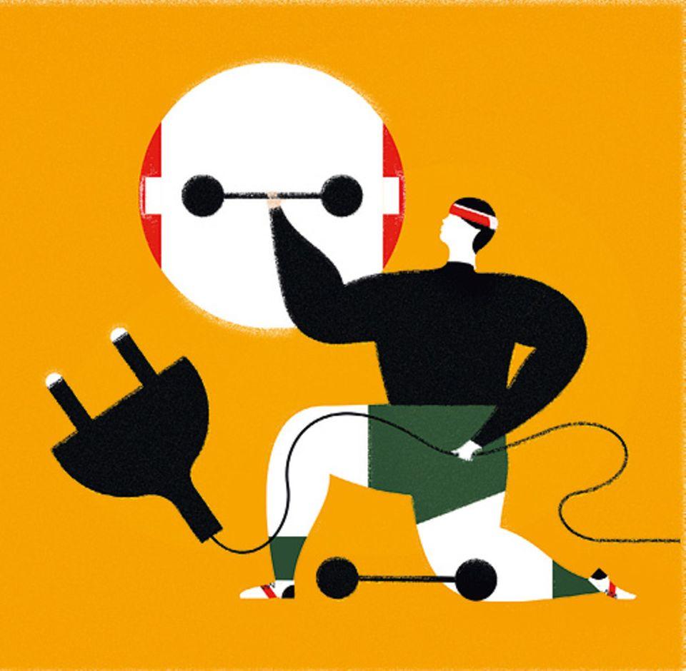 Sportforschung: Kraft aus der Steckdose: Stromimpulse ziehen die Muskeln zusammen. Vor allem mit Sport kombiniert verbrennt der Körper Fett