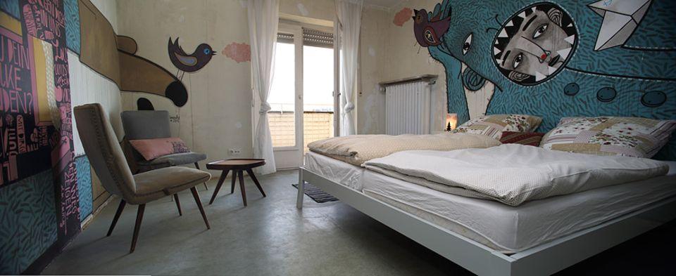 Grüne Palme 2016: Gezeichnete Traumwelten schmücken das Doppelzimmer im dritten Stock