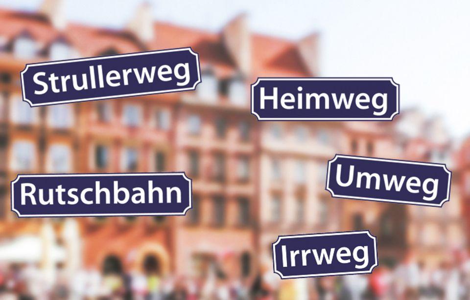 """Straßenschilder: Der """"Strullerweg"""" ist eine kleine Wohnstraße in der Gemeinde Landsberied und die """"Rutschbahn"""" wurde nach einer gleichnamigen Kneipe benannt und befindet sich in Hamburg. """"Heimwege"""", """"Umwege"""" und """"Irrwege"""" gibt es sogar mehrfach in Deutschland - also lasst euch nicht beirren!"""