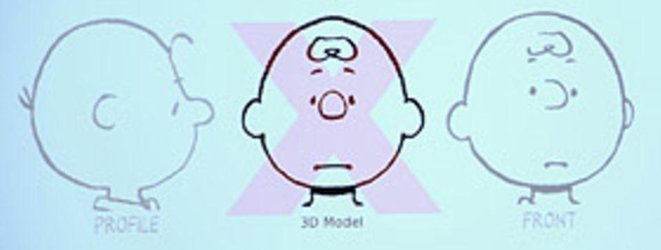 Filmtipp: Bei einem typischen 3-D-Modell würde Charlie Brown von vorne so aussehen wie hier in der Mitte zu sehen - das sieht aber nicht so aus, wie man ihn eigentlich kennt