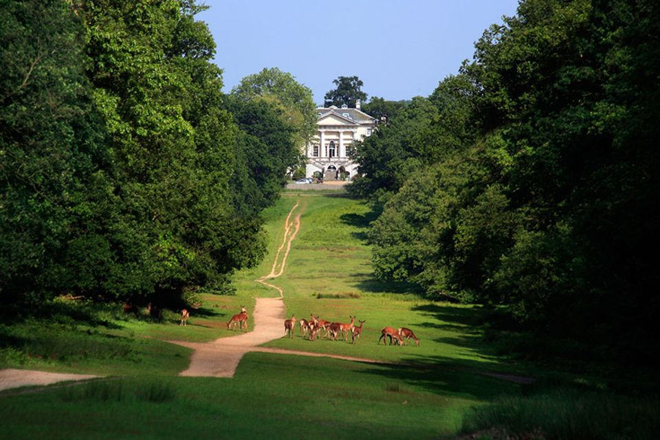 """Richmond upon Thames: Das prachtvolle Herrenhaus """"White Lodge"""" auf dem Gelände des Richmond Park. Das einstige Jagdhaus von Georg II. ist heute Sitz der Royal Ballet School. Viele Rot- und Dammhirsche bevölkern den Richmond Park"""