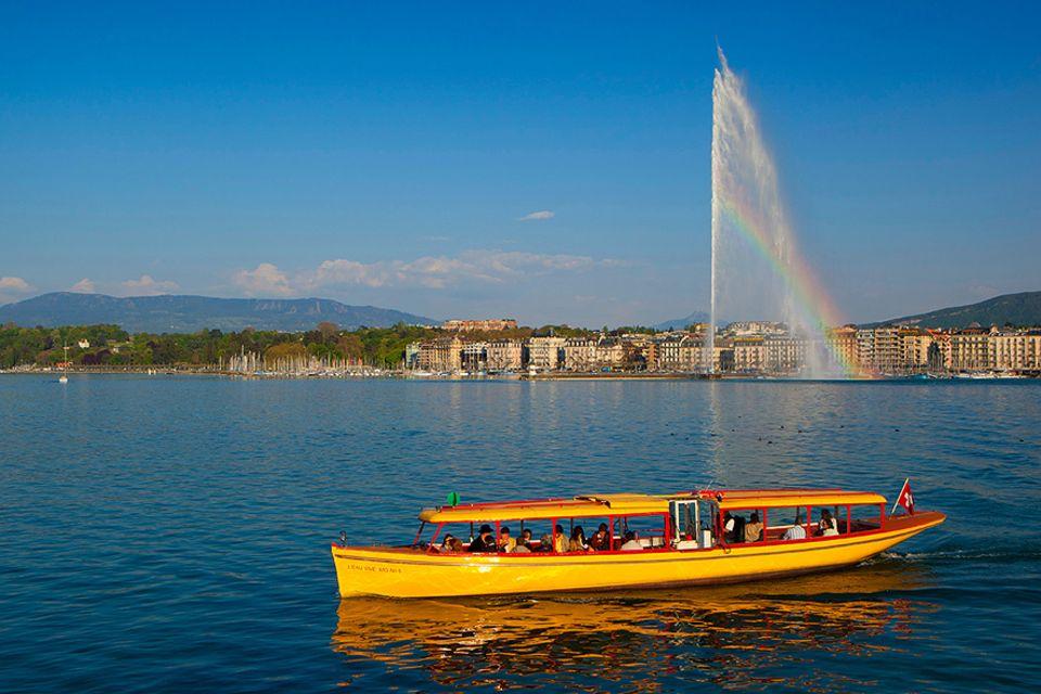 Schweiz: Genf liegt am südwestlichen Zipfel der französischen Schweiz, wo Rhône und Genfersee sich treffen