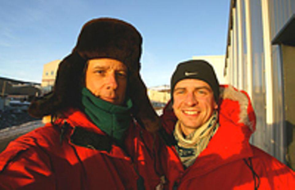 Antarktis: Lars Abromeit (r.) mit dem amerikanischen Fotografen George Steinmetz