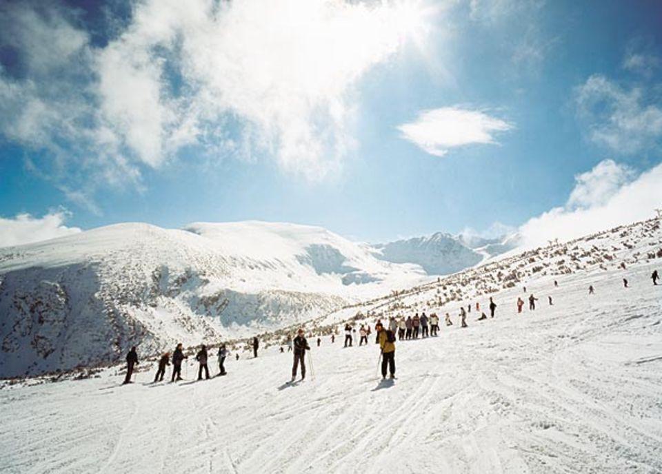 Der Sonnenbalkon von Borovez: Auf gut 2000 Meter Höhe ist der Schnee pulverig und die Luft knackig frisch. Sehr viele Pisten in dem Skigebiet sind sanft und flach geneigt - ideales Gelände für Anfängerkurse