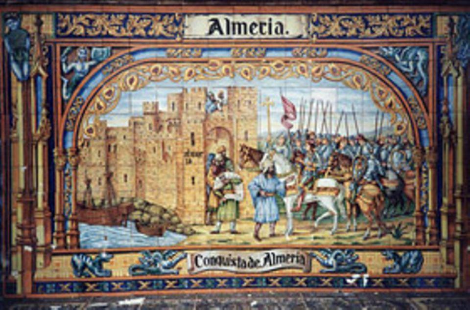 Geschichte Spaniens: Nach und nach erobern die Katholischen Könige Ferdinand und Isabella das letzte maurische Reich auf der Iberischen Halbinsel. 1489 fällt das stark befestigte Almería in ihre Hände