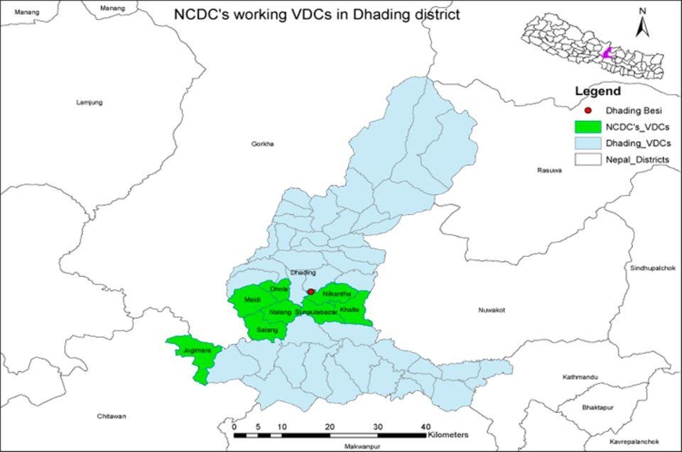 Nepal: Die Siedlung Sunaulo Bazaar gehört zum Bezirk Nilkantha (grün), südöstlich der Stadt Dhading Besi (roter Punkt), im Distrikt Dhading