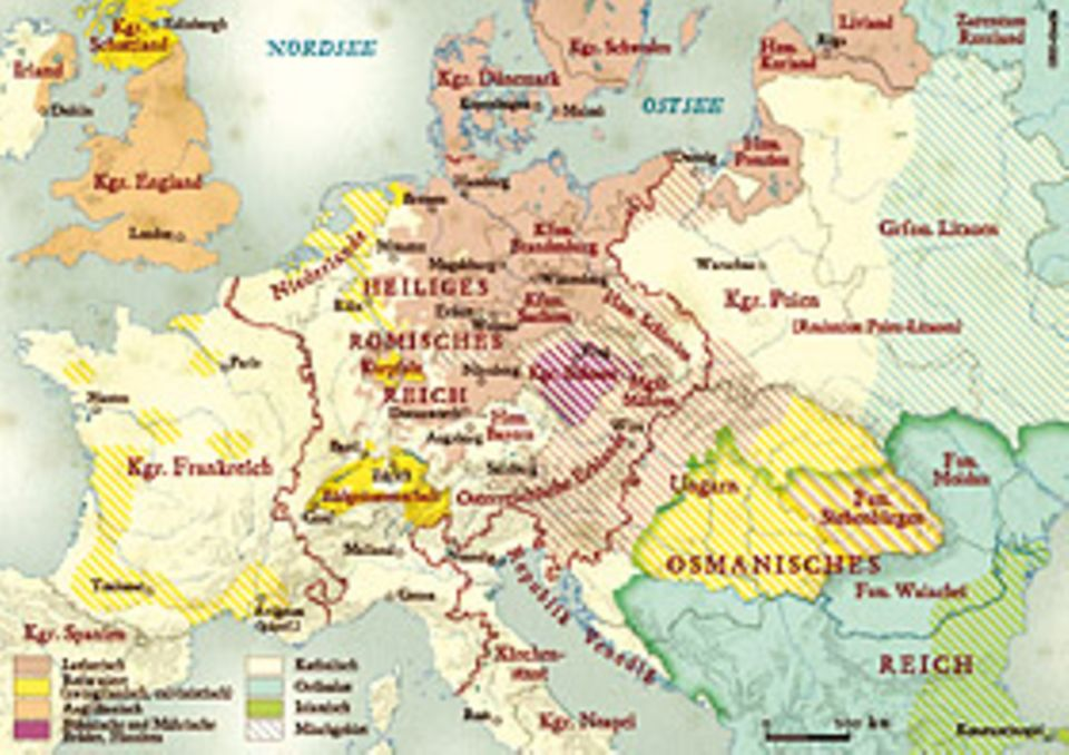 Um 1570 erreicht die Reformation ihre weiteste Ausdehnung; nur Teile des Heiligen Römischen Reichs sowie Spanien, Polen und Italien halten noch fest zur römischen Kirche