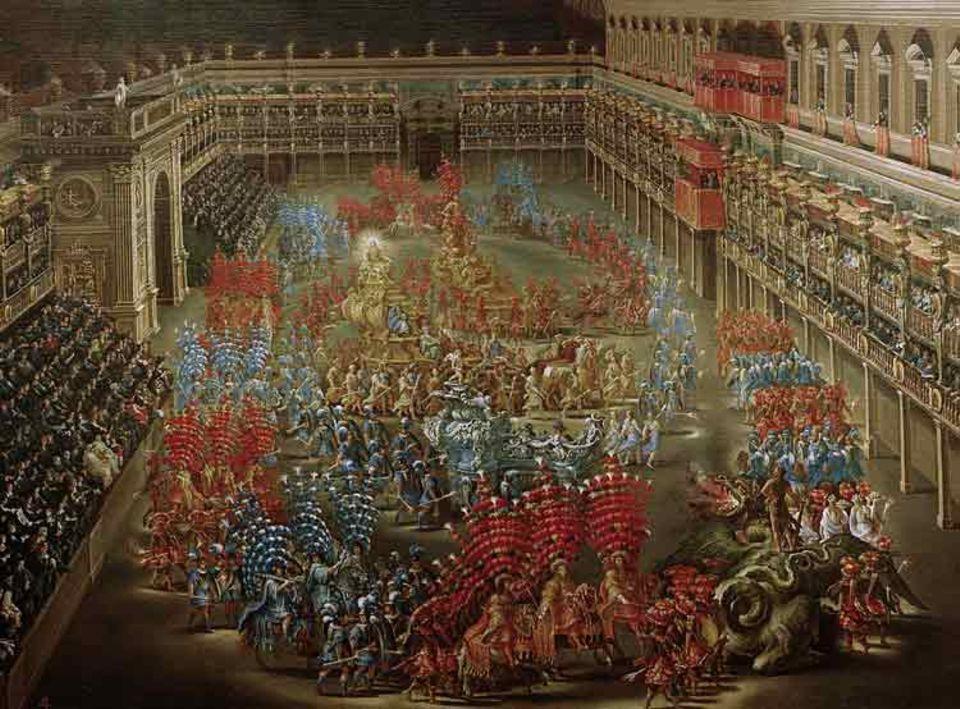 Ebenso wie die weltlichen inszenieren auch die geistlichen Fürsten Prunkfeste, um sich verherrlichen zu lassen. So ist der Aufenthalt Königin Christinas von Schweden in Rom ein ununterbrochener Reigen von Opernaufführungen, Banketten und Prozessionen - etwa am 2. Februar 1656 im Hof des Palazzo Barberini