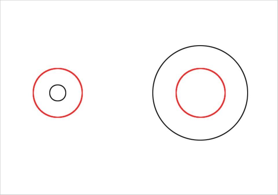 Welcher der beiden roten Kreise ist größer? - Wenn du das Lineal anlegst, wirst du feststellen, dass sie genau gleich groß sind.