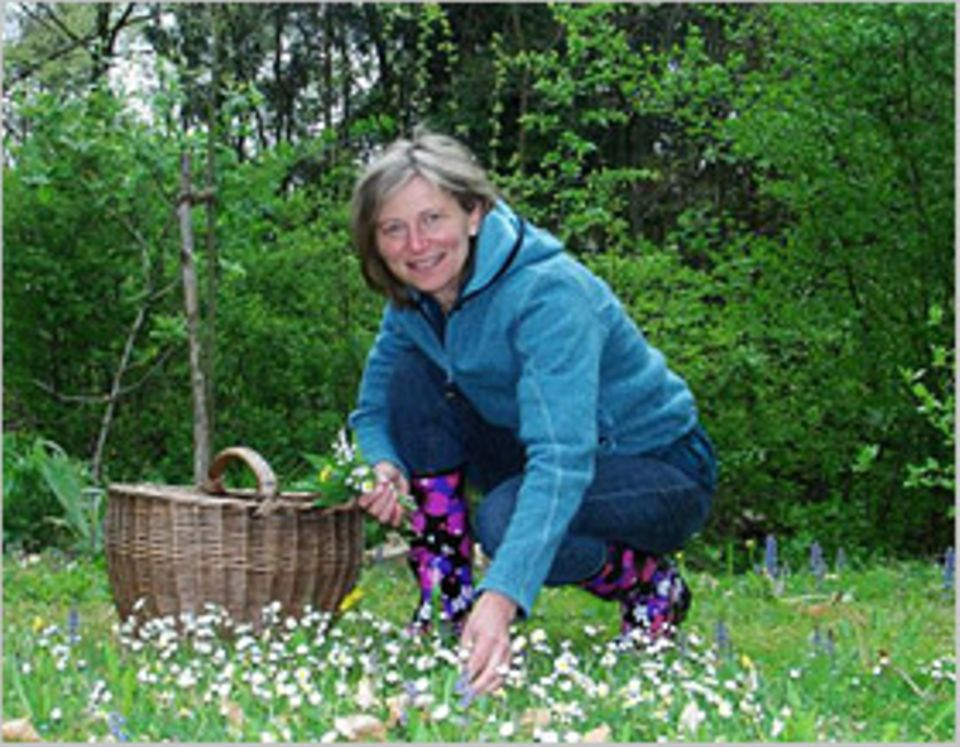 Essbare Pflanzen: Einen Handstrauß - mehr nicht: Viola Nehrbaß bringt ihren Kursteilnehmern auch einen verantwortungsvollen Umgang mit der Natur bei