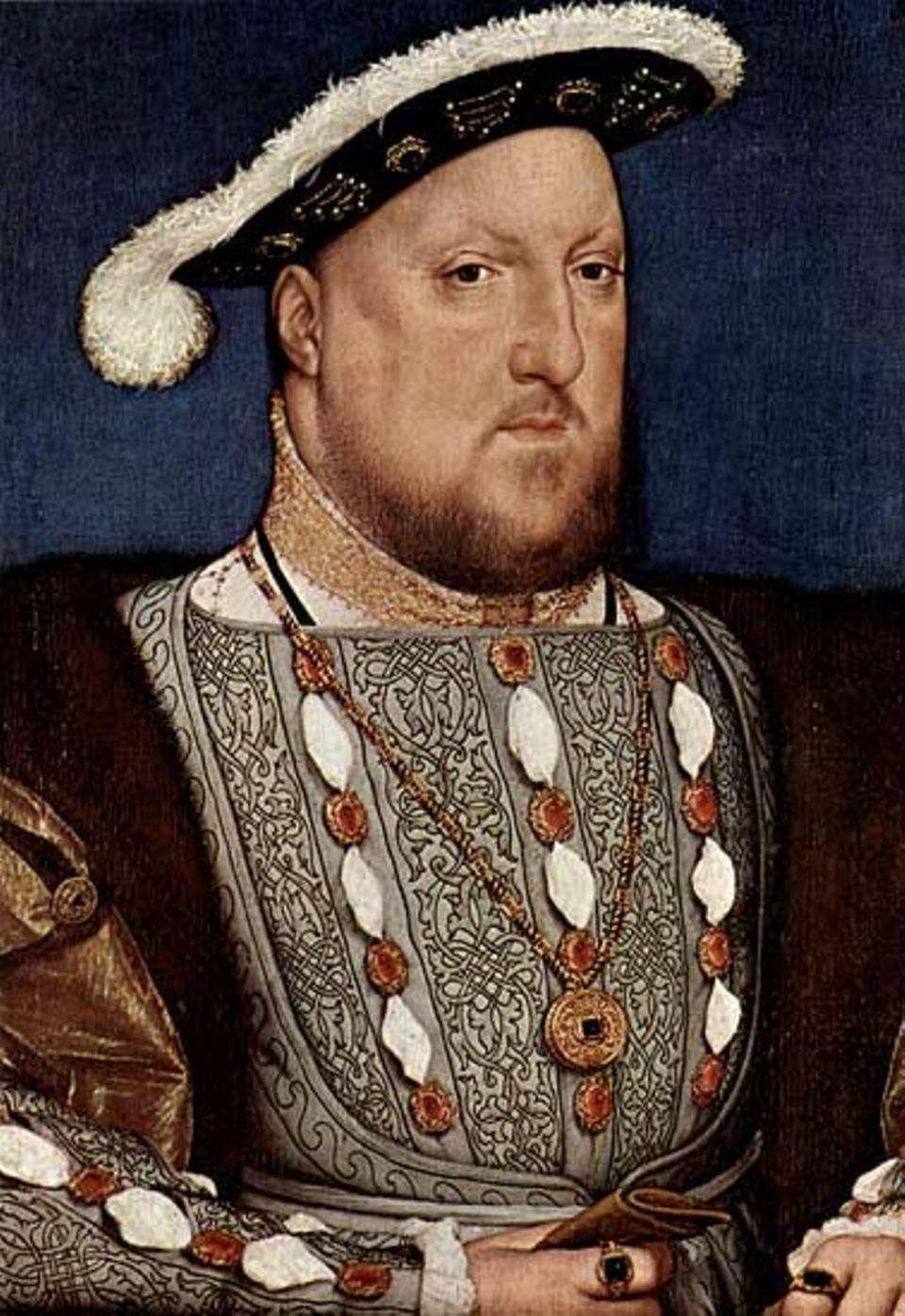 Mit goldbestickter Brust lässt sich Heinrich VIII. um das Jahr 1540 von seinem deutschen Hofmaler Hans Holbein porträtieren - der König steht auf dem Höhpunkt seiner Macht