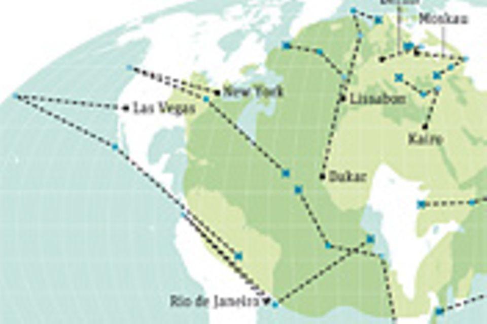 Weltspiel: Städtereisen: Der Drift der Kontinentalplatten