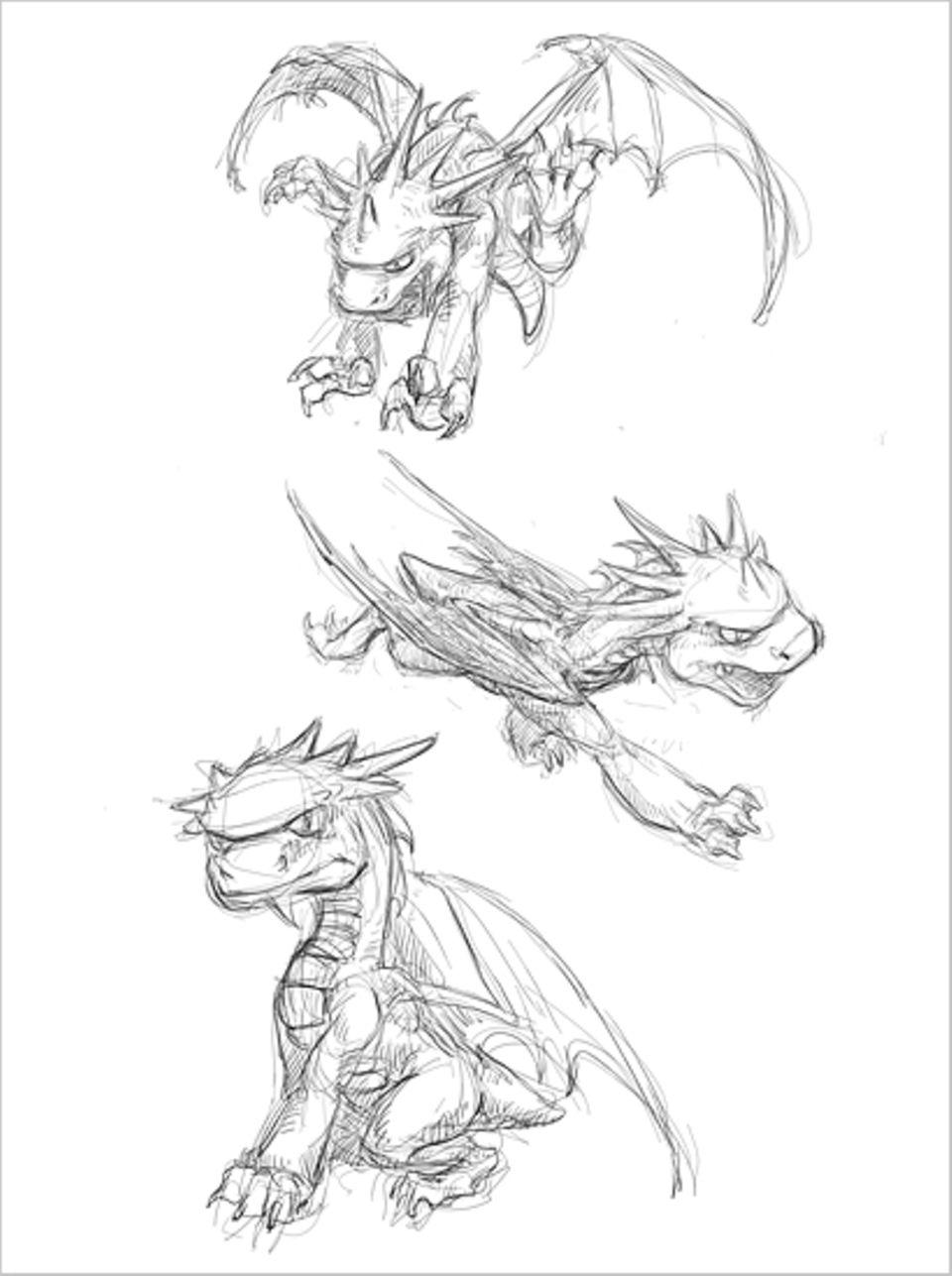 Beruf: Die ersten mit der Hand gezeichneten Skizzen eines Drachen, der zur Hauptfigur in einem Computerspiel wird