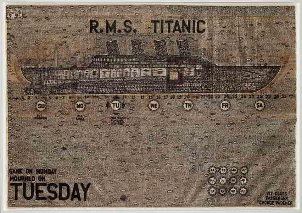 """Die """"Titanic"""" sank an einem Montag, die Welt erfuhr es am Tag darauf. In dem Bild """"Totenfeier für die Titanic"""" schrieb Widener alle 36400 Dienstage zwischen 1912 und 2612 nieder"""