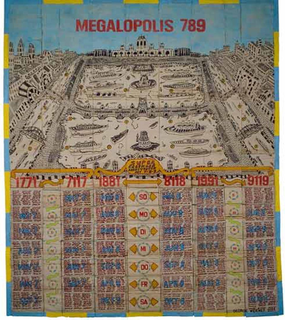 """""""Megalopolis"""": In der oberen Hälfte des Werkes, über den Kalendern und Pfeilen, liegt das Panorama einer symmetrisch angelegten Riesenstadt"""