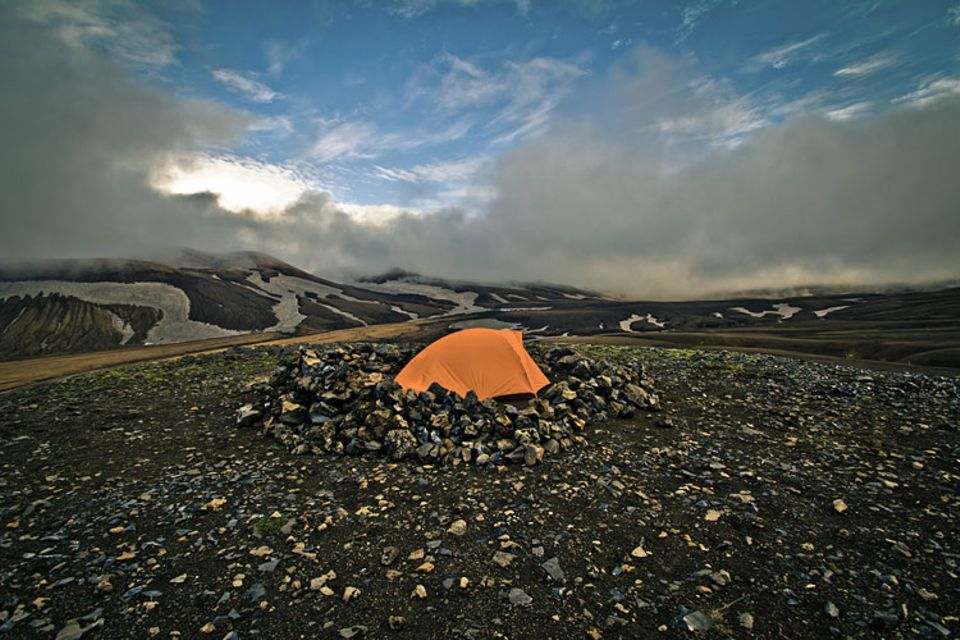Auch in der rauen Vulkanlandschaft schlug Klara ihr Zelt auf