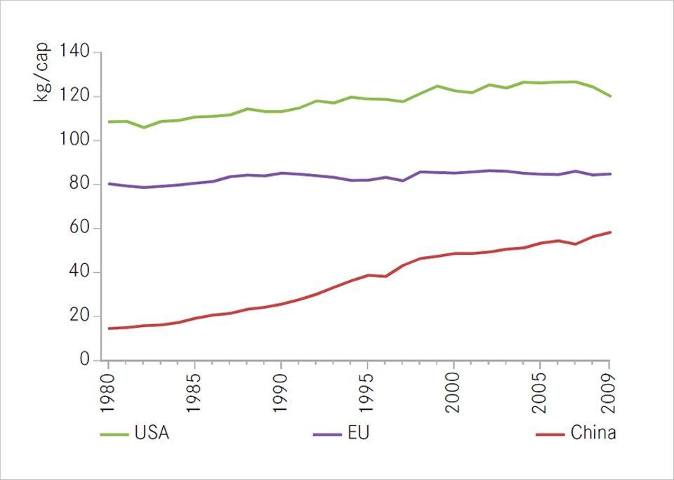 Ressourcenverbrauch: Unökologische Aufholjagd: Während die Fleischproduktion in der EU auf hohem Niveau stagniert, wächst sie in China rasant