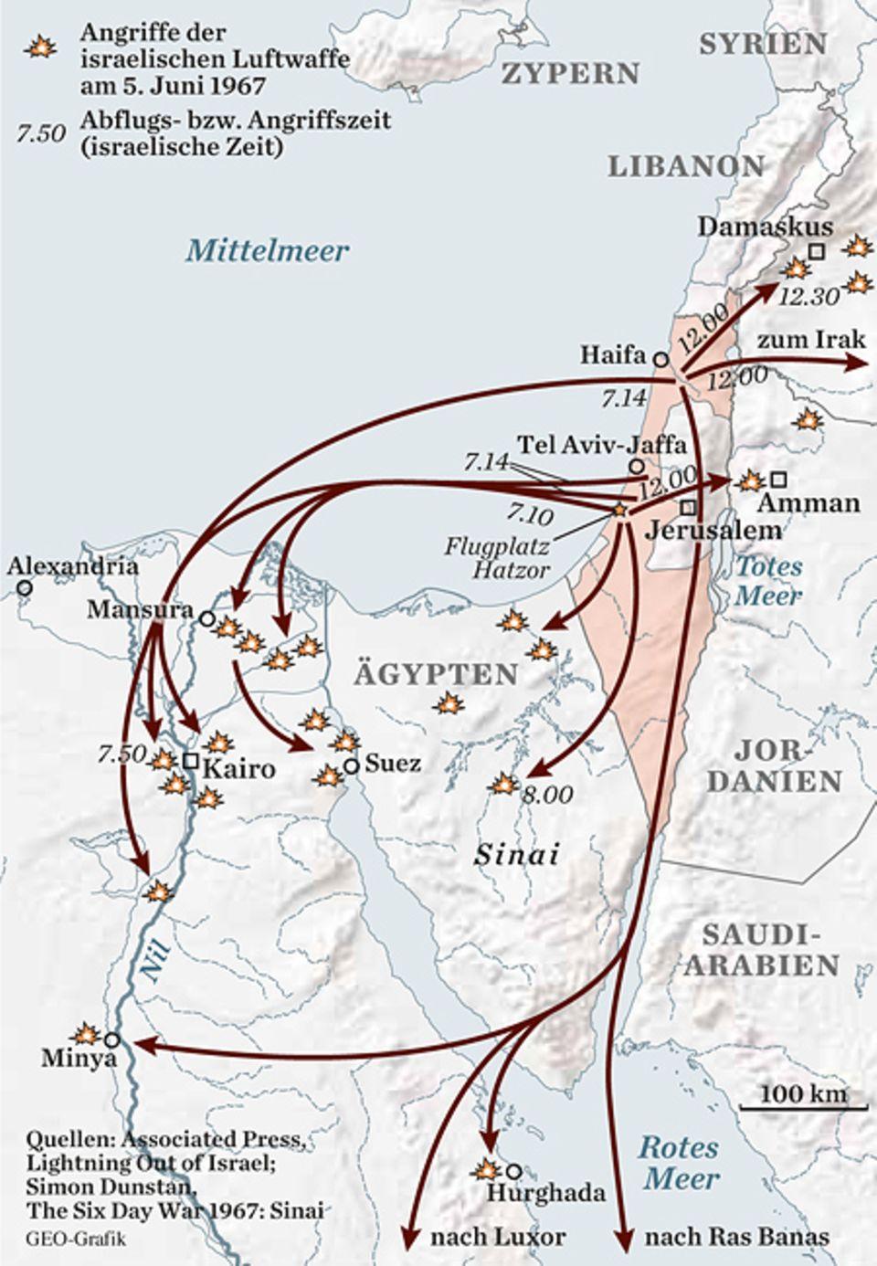 Der erste Schlag: Am Morgen des 5. Juni greifen 183 israelische Kampfjets ihre arglosen Gegner an. Damit das Radar sie nicht entdeckt, fliegen sie nur 15 Meter hoch
