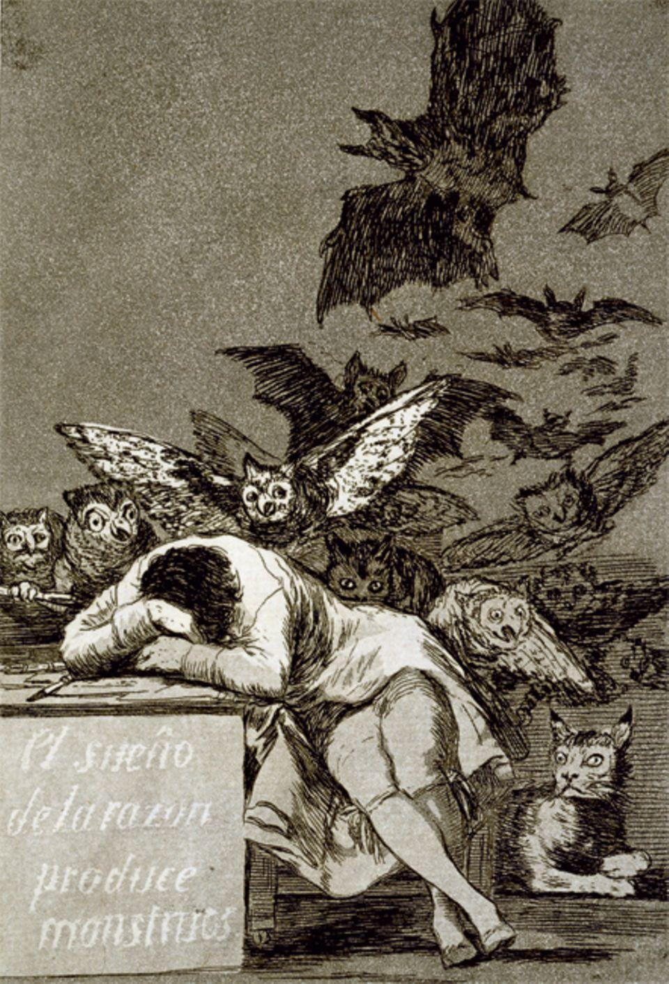 """Ein Werk und seine Geschichte: Kritik an der Vernunft? Ein düsterer Schwarm jagt aus dem Dunkel heran. Das Blatt """"Der Schlaf der Vernunft gebiert Ungeheuer"""" ist das berühmteste der Capricho-Serie und zugleich eines der rätselhaftesten. Symbolisiert es den Schrecken einer Welt ohne Vernunft - oder den Albtraum, wenn die Ratio alles beherrscht?"""