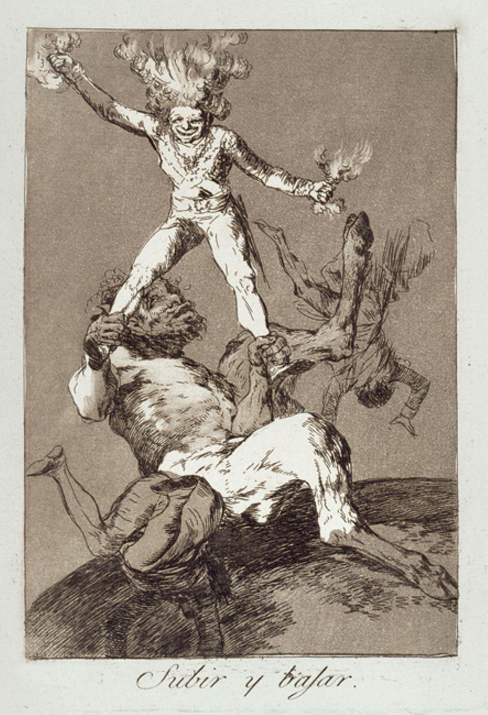 Ein Werk und seine Geschichte: Emporkömmling: »Steigen und Fallen«. Goya zeigt einen Politiker, der sein Amt einer Liebschaft verdankt, in den Klauen eines Satyrs: ein Symbol für die Unzucht des Staatsmannes