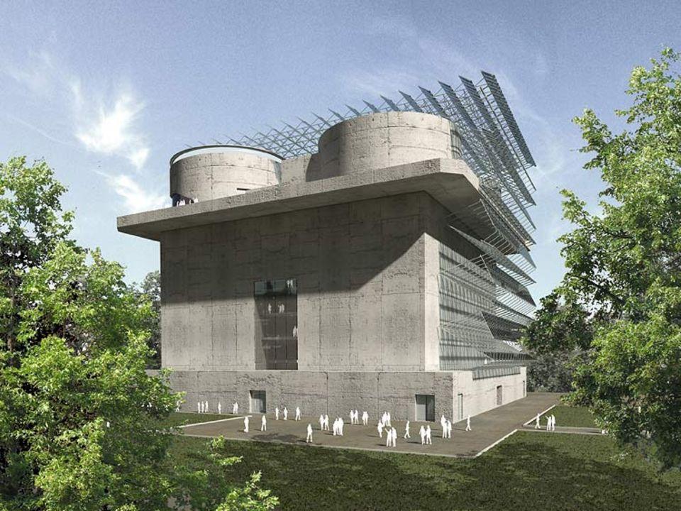 Technik: Eine strahlende Fassade und Solar-Flügel auf dem Dach: So soll der Bunker in zwei Jahren aussehen
