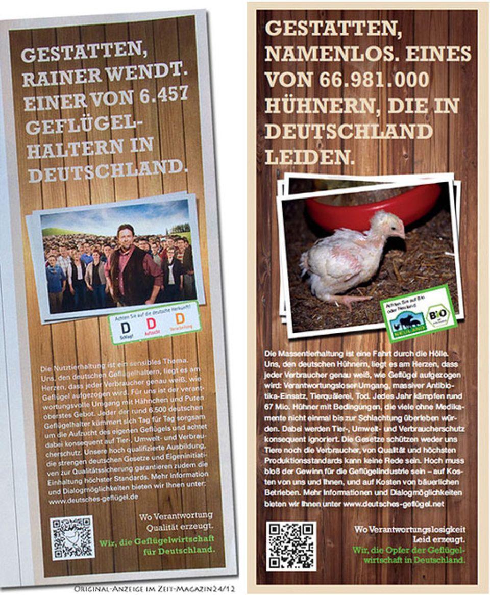 Greenwashing: Der Bund für Umwelt und Naturschutz Deutschland (BUND) reagierte mit der rechtsstehenden Anzeige auf die Kampagne