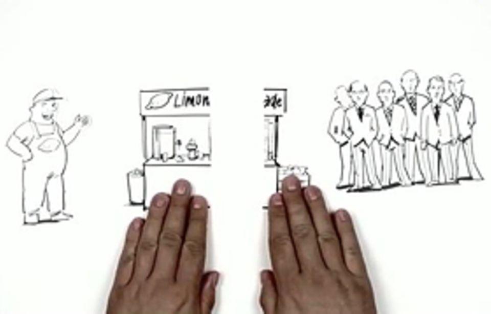 Anhand von lustigen Bildern wird in den Videos erklärt, was an der Börse passiert