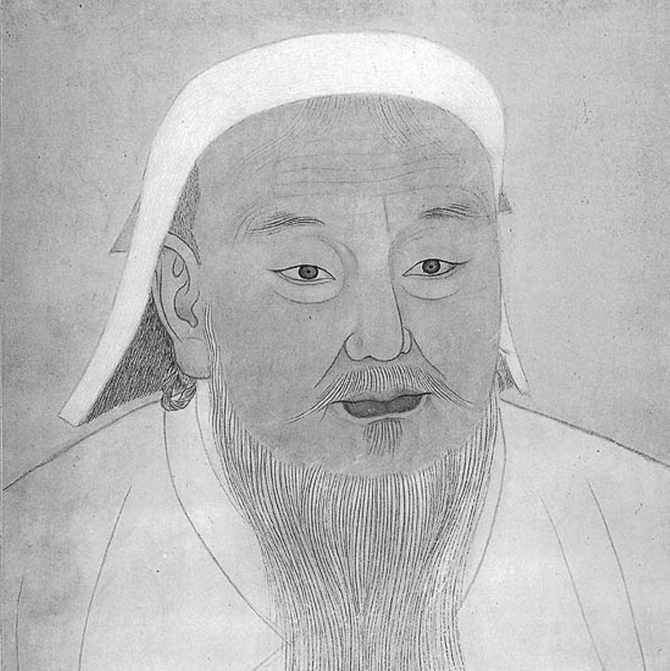 So soll Dschingis Khan in seinen Sechzigern ausgesehen haben. Portrait eines chinesischen Malers auf Seide