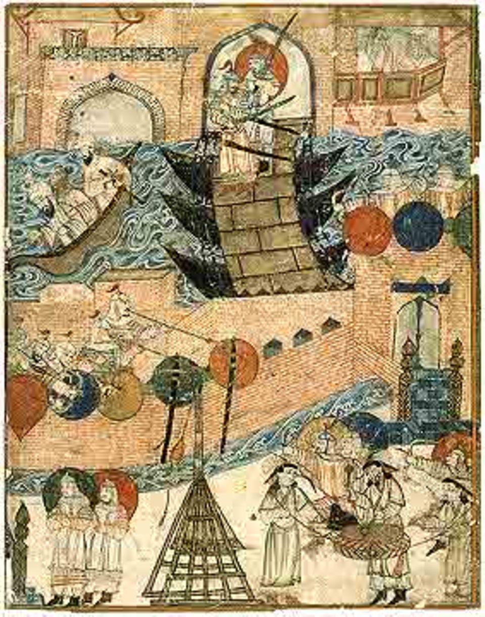 Die arabische Handschrift aus dem 14. Jh. zeigt mongolische Truppen beim Überschreiten des Tigris und der Eroberung Bagdads (1258)