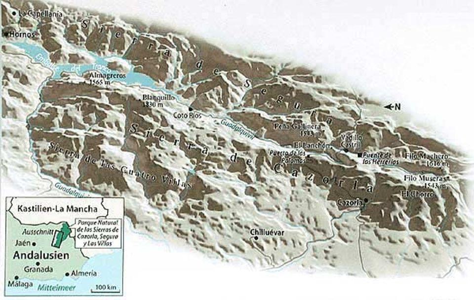Der Naturpark um die drei Bergketten von Cazorla, Segura und Las Villas bedeckt ein Gebiet etwa halb so groß wie Mallorca