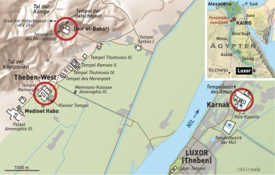 Von Süden nach Norden teilt der Nil die Stadt Luxor, die einmal Theben hieß. Die östliche Seite von Theben gehörte den Lebenden, die westliche den Toten
