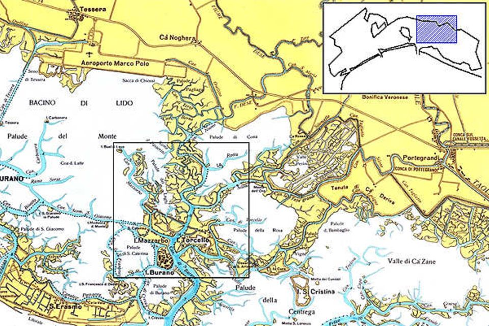 Kartenausschnitt der Lagunenlandschaft in Venedig