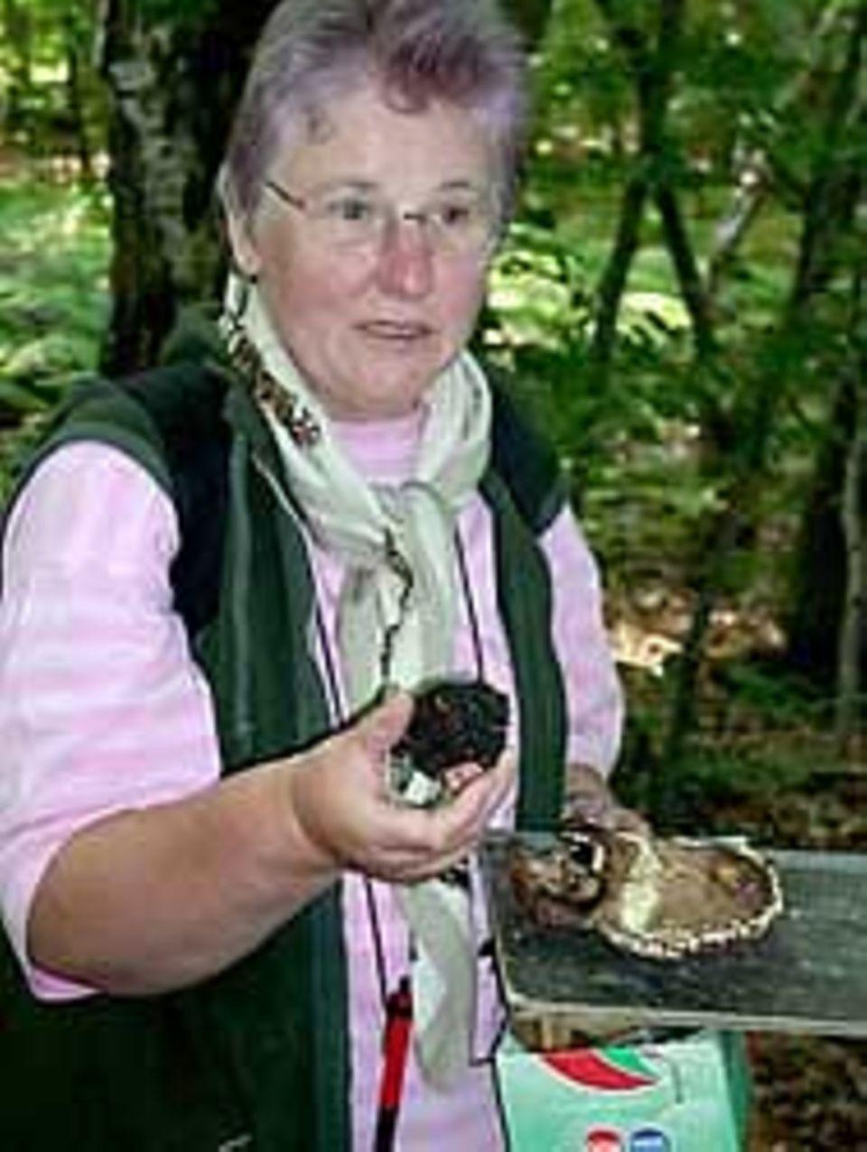 Pilzexpertin Brigitte Schurig mit ihren Funden