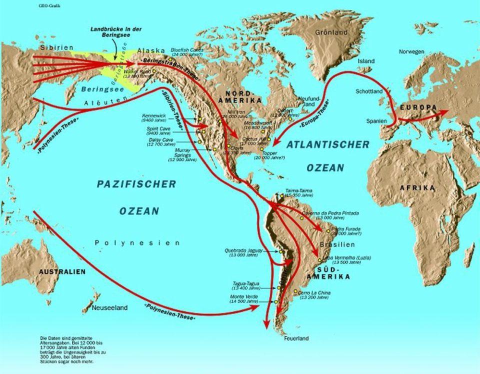 Für die Besiedlung Amerikas gibt es vier Grundhypothesen: - die Beringstraßen-These, nach der Amerika ausschließlich über eine Landbrücke zwischen Sibirien und Alaska besiedelt worden ist: - die Sibirien-These, nach der frühe Seefahrer von Sibirien über den Nordpazifik die amerikanische Küste erreicht haben; - die Polynesien-These, nach der südpazifische Seefahrer den Stillen Ozean überquert haben und im Norden oder auch im Süden Amerikas gelandet sind; - die Europa-These, nach der frühe Bewohner der Alten Welt über den Atlantik oder über Russland und Sibirien nach Amerika vorgedrungen sind