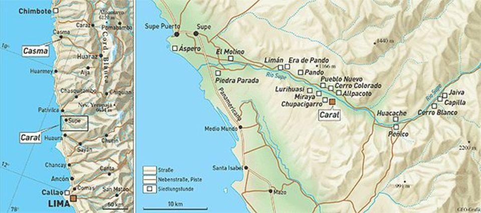 Peru: Im Stromtal des Rio Supe schufen die Bewohner von Caral urbare Flächen. Die zeitlich folgende Zivilisation etablierte sich 190 Kilometer weiter nördlich in Casma