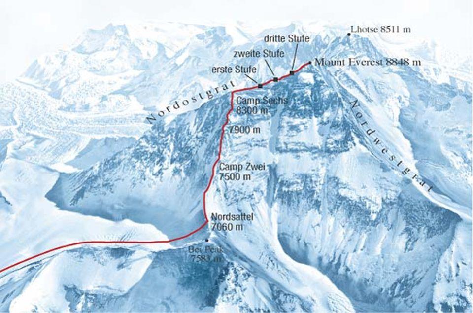 Die Route der Gipfelstürmer auf einen Blick