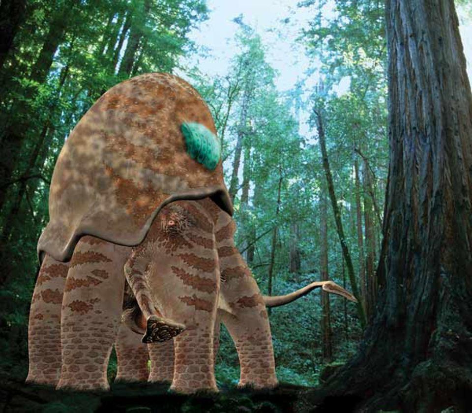 Ein Kolosskalmar mit etwa der Größe eines Elefanten bricht auf seinen kräftigen Beinen durch den Regenwald