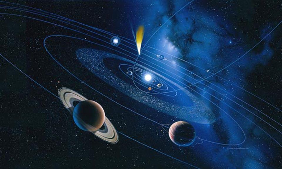 Zahlreiche Himmelskörper kreuzen die Bahn der Erde. In der Grafik ist ein Komet mit dem stets von der Sonne abgewandten Schweif gerade dabei, ins innere Sonnensystem vorzustoßen