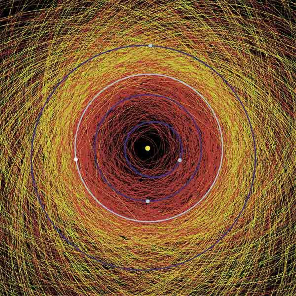 Die Darstellung des inneren Sonnensystems mit Merkur (1), Venus (2), Erde (3) und Mars (4) zeigt die Bahnen aller dort bis Anfang 2000 entdeckten Asteroiden