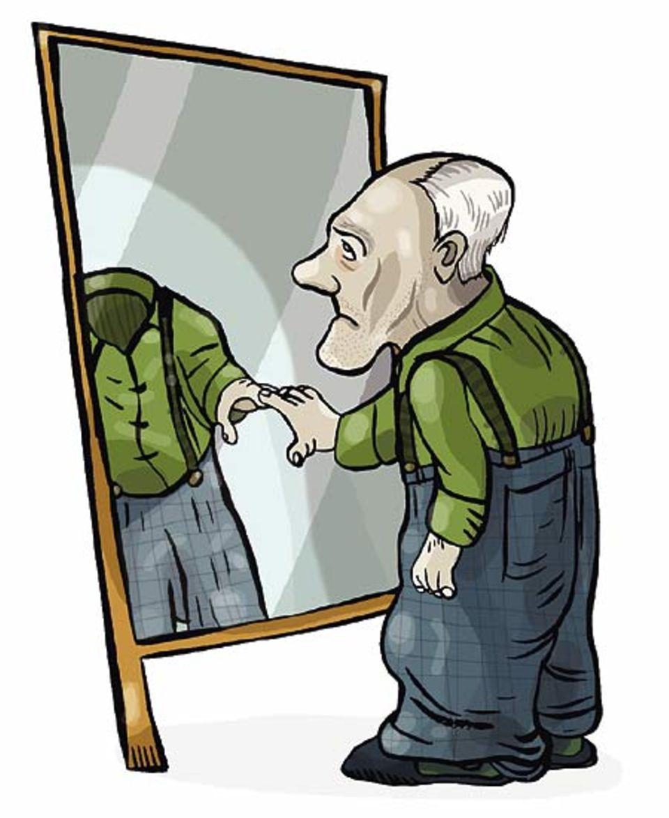 Ziemlich kopflos: Bei Alzheimer-Kranken sterben Teile der Großhirnrinde ab. Weil die auch für die Erinnerungen zuständig sind, erkennen die Menschen nach einer Weile nicht einmal mehr ihr Spiegelbild