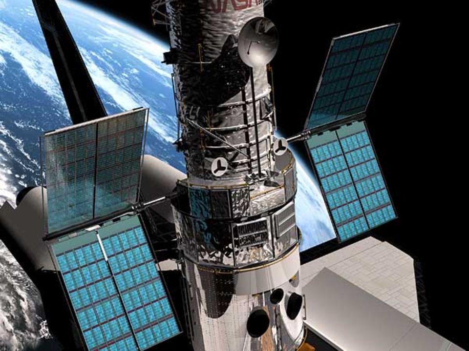 Hubbles neue Sonnenkollektoren entfalten sich während der Wartungsmission 3B im Jahr 2002